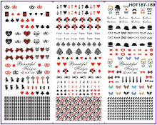 3 PACKS / LOT MOSAIC DIAMOND POKER CAP MUSTACHE NAIL TATTOOS STICKER WATER TRANSFER DECAL NAIL ART HOT187-189