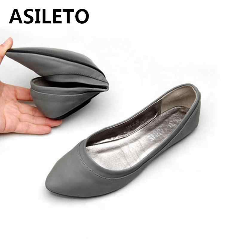 ASILETO Large Size 41 Women s Shoes Spring Autumn Ballet Flats Ladies  Ballerinas Women Leather Shoes Flats 37820a37167a