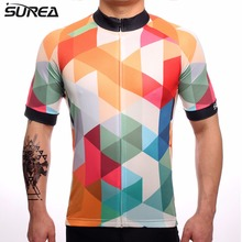 2017 SUREA Men Quick Dry Breathable Diamond Check Short Sleeve Cycling Jersey Roupa Ciclismo Pro Team Shirt Jersey(China)