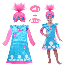 Kids 2017 Girls Summer Trolls Cartoon Girls Dress Children Clothing Trolls pattern Baby Girls Frock Clothes vestidos Nightdress