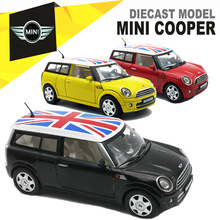 1/32 Diecast MINI COOPER Model, Kids Present For Children, Metal Cars Toys With Pull Back Function/Music/Light/Openable Door(China)