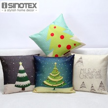 Christmas Tree Pattern Linen Cushion Covers Car Seat Cushions New Year Home Decor Xmas Gift 45*45 cm 1PCS/lot(China)