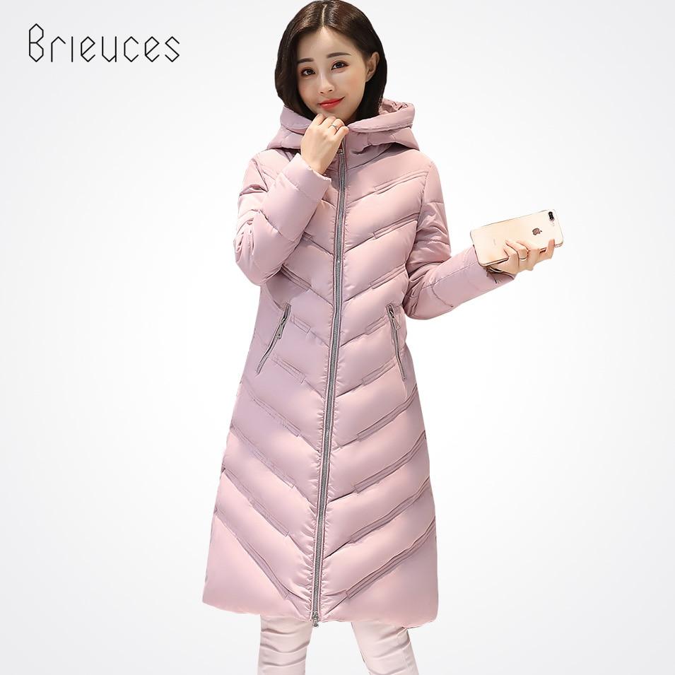 Brieuces 2017 Winter Coat Womens Cotton Padded Jackets Solid Color Long Parkas Warm Winter Jackets Coats Hooded Overcoat FemaleÎäåæäà è àêñåññóàðû<br><br>