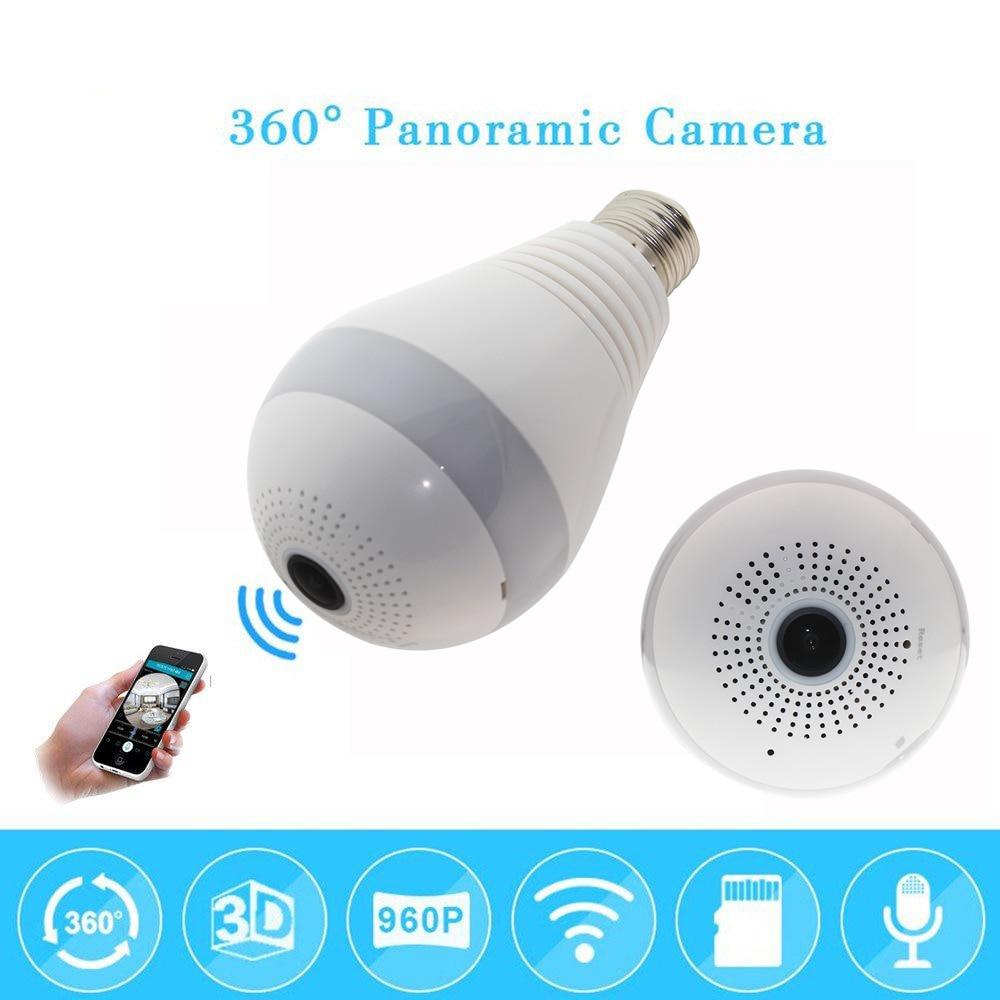 960P 1080p 360 degree Wireless IP Camera Bulb Light FishEye Smart Home CCTV  Camera 1.3MP Home Security WiFi Camera Panoramic<br>