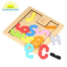 Baby Kids Wooden Number Count Digital Geometry Educational Toys Puzzle Children Early Learning 3D Shapes Wood Jigsaw Puzzles(China)