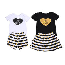Sisters Matching Kids Baby Girls Romper Pants Set T-shirt Dress Outfits Clothes Summer Cotton Toddler Girl Enfant Big Sister(China)
