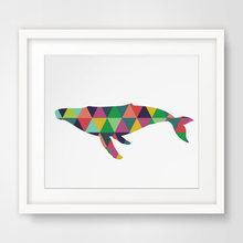 Colorful Triangle Animals Whale Artwork Canvas Art Geometric Poster Print Nursery Wall Picture Paintings Home Decor No Frame