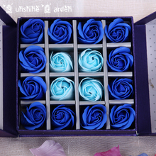 Blue/Pink Soap Rose Flower Bath Body Flower Romantic Bath Soap Petals Wedding Decoration Gifts With Box DIY For Valentine's Day