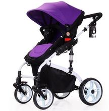New design Baby Carriage High Landscape Baby Strollers Aluminium alloy shock absorption Baby Trolley Four Wheels folding Pram
