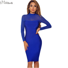 VITIANA Women Long Sleeve Bodycon Pencil Dress 2017 Autumn Winter Black Blue See Through Slim Sexy Club Casual Party Dresses(China)