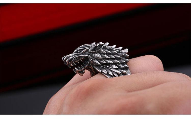 แหวนผู้ชายเท่ห์ๆ Code 042 แหวนหมาป่า สแตนเลส แกะลายคมๆสวยๆ14