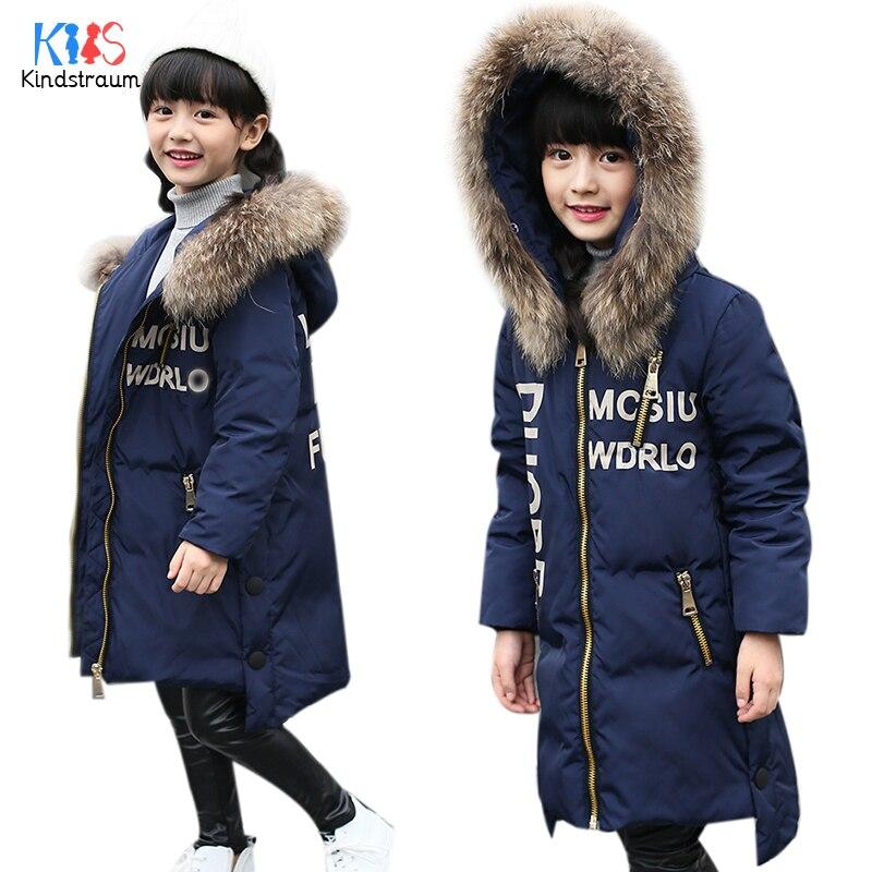 Kindstraum 2017 New Fashion Kids Winter Down Coat Hooded Boys Girls Warm Duck Down Letter Jacket Fur Collar Casual Outwear,MC847Îäåæäà è àêñåññóàðû<br><br>
