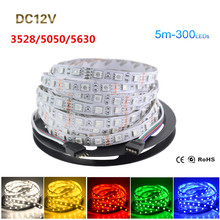 RGB Led Strip 5050 5630 3528 SMD 5M 300 Leds Strip Light DC 12V Fita Led String Bar Neon Light Ampoule Led Lamp(China)