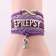 Infinity Love Hope Charm EPILEPSY bracelet rope leather awareness bracelets & bangles gift for men women jewelry Drop Shipping