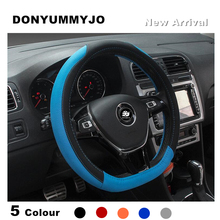 DONYUMMYJO HOT SALE D Ring Leather Car Steering Wheel Cover For Volkswagen VW Golf 7 GTi Mk7 Golf7 Scirocco Sagitar Lavida Polo