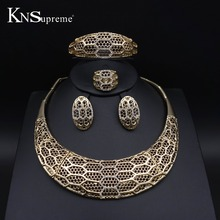 Fashion women Dubai African Beads Jewelry Sets gold-color unique Wedding Bridal exaggerate Necklace Earring bracelet ring 11.10(China)