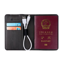 Travel Passport Holder PU Leather Passport Covers For Power Bank 3000 mah Smart Battery Passports Case Credit Card Holder(China)