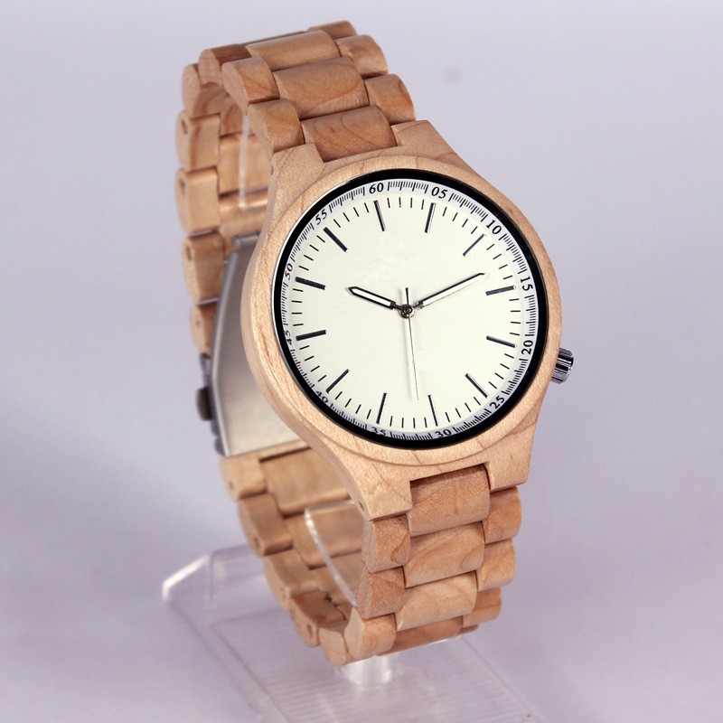 Bamboo Dial Watches Men Sport Quartz Luminous Needles Leather Band Strap Wrist Watch Cool Women Wood Brown Clock<br>