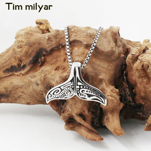 Timmilyar Lovely Whale Tail Pendant Titanium Necklace Stainless Steel Chain for men or women Unisex ROCK Biker Rider Jewelry