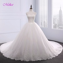 Buy Melice Appliques Robe De Mariage Chapel Train Ball Gown Wedding Dress 2017 Strapless Lace Bride Gown Robe De Mariage Hot Sale for $247.49 in AliExpress store