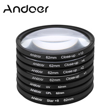 62mm Andoer Polarizing Star 8Point Macro Close-up Lens Filter UV+CPL+Star8+Close-up Filter for Canon Nikon Sony DSLR Camera Lens