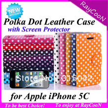 polka dot leather case for iphone 5c, PU Leather Stand cover case for iphone 5c+ screen protector,many color available