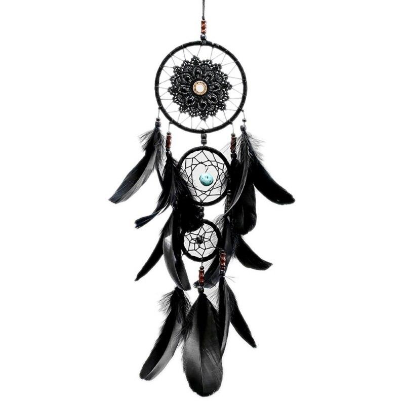Attrape Rêves Indien Noir Fabrication Artisanale Capteur de rêve origine amérindienne décoration murale décoration intérieur ornement amerindien
