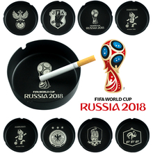 Russia 2018 World Cup LOGO Mascot Sporting Goods Fans Gift Accessory Souvenir Bar Stainless Steel Black Round Metal Ashtray(China)