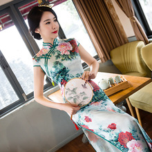 Buy New Chinese Traditional Women's Satin Qipao Elegant Print Long Cheongsam Vintage Flower Sexy Dress Plus Size M L XL XXL XXXL for $38.76 in AliExpress store
