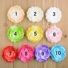 10pcs/lot 10colors 9cm Chiffon Fabric Peony Flower Without Clip For Girls DIY Crafts Hair Decorative Accessories