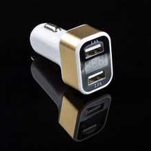 Good Quality Brand New Dual Universal USB Phone Charger LED Display Digital Voltmeter Car Cigarette Lighter Charger Adapter