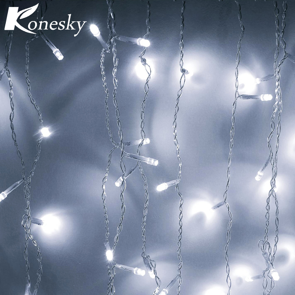 Christmas Decoration Led Lights 3.5 m Fall 96 leds String Curtain Cold White Icing for the New Year Holiday Garden US Plug 110(China)