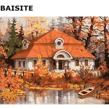 BAISITE Village Landscape DIY Acrylic Painting By Numbers Handpainted Oil On Canvas For Living Room Home Decor Wall Art E300(China)