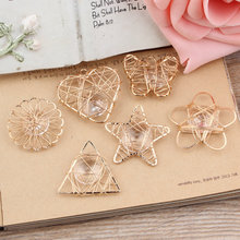 New Style Rhinestone/Crystal Core Alloy Gold Tone Hollow Stars/Flowers/Butterflies/triangle Shape Charms diy Necklace pendants