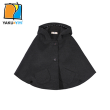 YKYY YAKUYIYI Dark Gray Girls Cape Coat Buttons Hooded Baby Girls Outerwear & Coat Brief Pockets Children Cape Girls Clothing