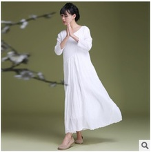 Product release in the summer of 2016, high-end quality 100% cotton linen lady original design loose big code lady dress