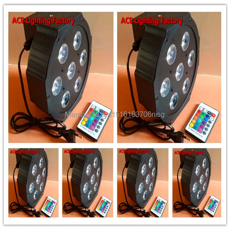 6pcs/lot Wireless remote control Free&amp;Fast shipping LED SlimPar 7x9W RGB 3IN1 LED DJ Wash Light Stage Uplighting No Noise<br>
