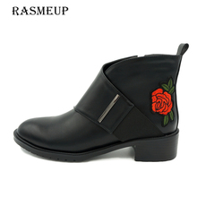 RASMEUP Women's Embroidery Flower Chelsea Boots Genuine Leather Fashion Zipper Winter Autumn Women Ankle Boots Woman Martin Shoe(China)