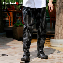 Top quality Work pants checkedout cook pants male 100% cotton chef pants