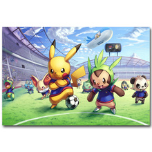 Pikachu - Pokemon XY Funny Art Silk Fabric Poster Print 13x20 24x36inch Pocket Monster Anime Picture for Room Wall Decor 026(China)