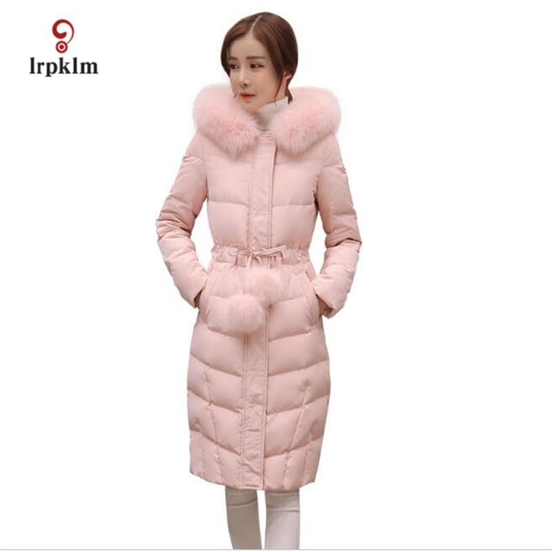 2017 New Female Long Winter Parkas Women Fur Collar Hooded Cotton Padded Coat Fashion Slim Tunic Outerwear Pink Pale Green PQ009Îäåæäà è àêñåññóàðû<br><br>