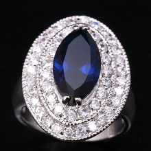 Crazy Good-Looking Eye Gems Deep London Blue Onyx White Cubic Zirconia 925 Sterling Silver Party Rings US# Size 6 7 8 9 S1512(China)