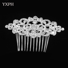 YXPH Women Hair Combs Fashion Hairwear Wedding Head Jewelry Hearts Shape Alloy Rhinestone Bride Accessories Crystals