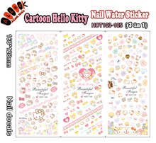 For Nail(Large Piece HOT103-105 3 DESIGNS IN 1)Cartoon Hello Kitty Nail Art Wrap Water Sticker for Nail Art Decoration
