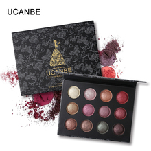 UCANBE Brand Shining Baked Eyeshadow Palette Waterproof Pigment Makeup Glitter Metal Color Eye Shadow Nude Smoky Cosmetics(China)