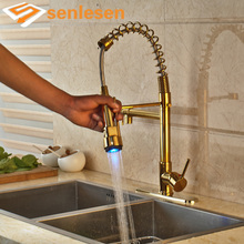 Luxury Gold Finish Deck Mounted LED Light Sprayer with Hole Cover Plate Kitchen Sink Faucet(China)