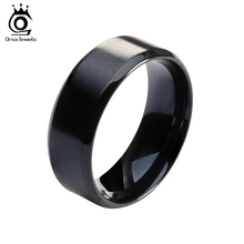 ORSA JEWELS 2017 New Fashion Stainless Steel Ring High Quality Black Color Wedding Rings for Men and Women OTR23(China)