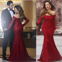 Formal Red Appliques Lace Mermaid Evening Dresses 2017 Designer Boat Neck Long Sleeves Long Prom Gowns Cheap Robe de Soiree