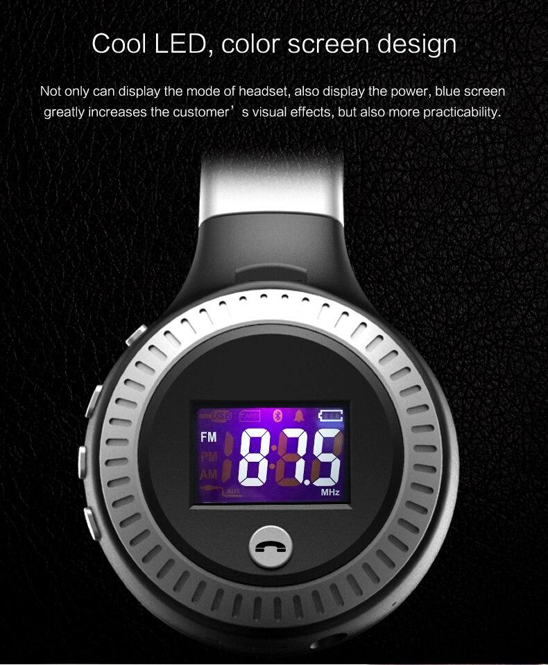 Zealot B19 Wireless Headphones LCD Display Screen HiFi Bass Stereo Earphone Bluetooth Headset with Mic + FM Radio + TF Card Slot 7