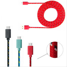 1M/2M/3M Braided Micro phone USB data Cable Charger Data Sync USB Cable Cord For Samsung Galaxy Cell phones 10 Colors XEDAIN